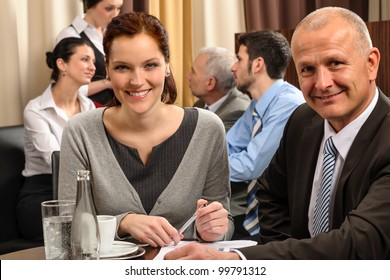 Business people have company meeting at restaurant conference room