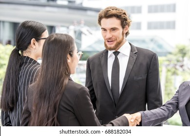 Business people have a meeting together. People talking for business project with team. Business people working concept.