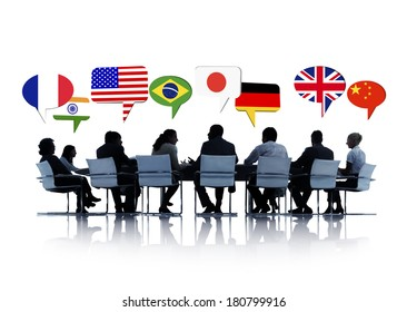 Business People Having A Conference About International Relations