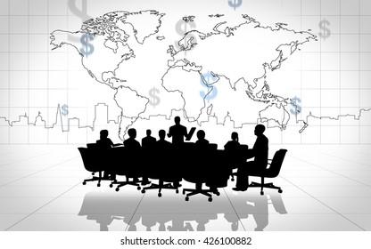Business people having on presentation