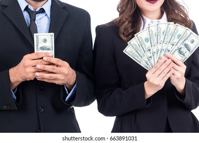 Business people holding Dollars isolated on white background