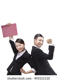Business people holding a folder