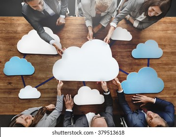 Business People Joining Cloud Teamwork Concept