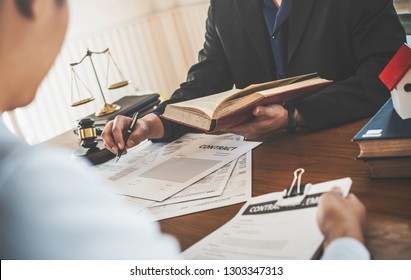 Business people lawyer discussing law concept meeting client, Legal services.