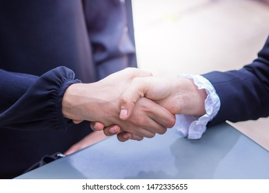 Business people making handshake, successful negotiation and agreement of partnership communication and start to join business together