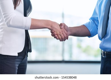 business people man and woman  shake hands make deal and sign contract