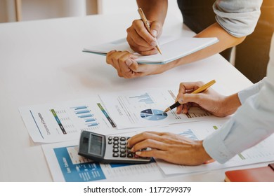 Business people meeting to analyze and discuss the situation on the financial report in meeting room. Meeting planning budget and cost. Business financial analysis and strategy concept.