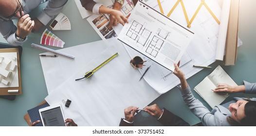 Business People Meeting Architecture Blueprint Design Concept
