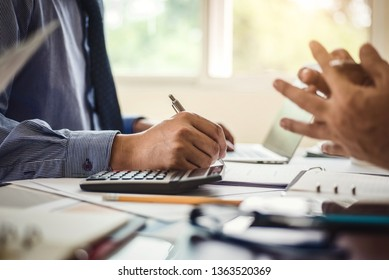 Business people meeting for checking annual financial statements of company.  Accounting Concept