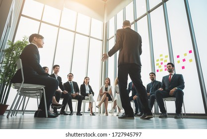Business People Meeting Conference Discussion Corporate Concept in office. Team of newage Multiethnic Diverse Busy Business People in seminar Concept.