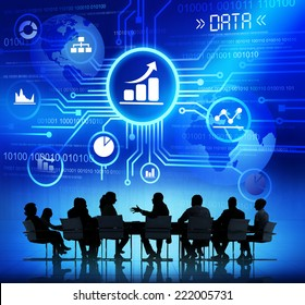 Business People in a Meeting and Data Concepts