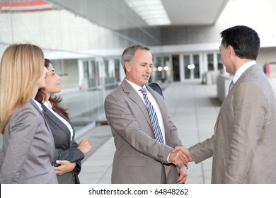 Business people meeting at an exhibition