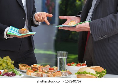 Business people at the meeting at lunch buffet