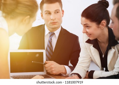 Business people at  meeting in office background. Successful negotiation of business team or lawyers