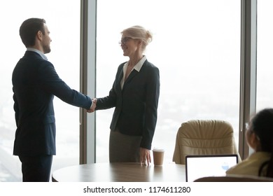 Business people at business meeting. Older director ceo welcomes the new colleague, acquaintance, greeting, HR, recruitment concept. Client and executor shaking hands after a successful deal