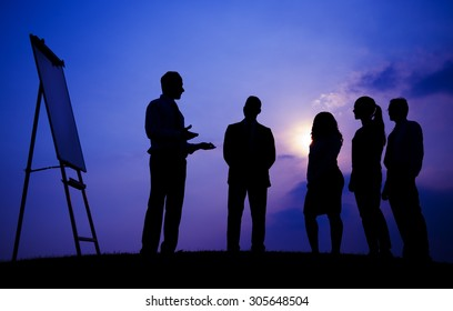 Business People Meeting Outdoors Silhouette Concept