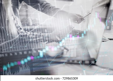 Business People Meeting Planning Analysis  Statistics Brainstorming abstract background. Finance decentralization and trading strategy statistics concept