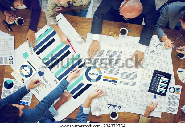 Business People Meeting Planning Analysis Statistics Brainstorming Concept