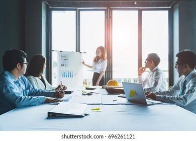 Business People Meeting presentation workshop Corporate Communication Teamwork Concept