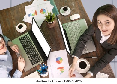 business people at meeting table