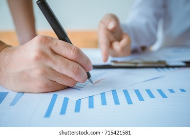 Business people meeting working with new startup project, share idea discussion and analysis data charts and graphs.Business finances and accounting concept