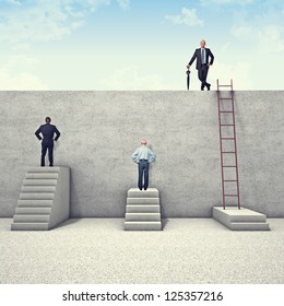 business people and metaphoric obstacle