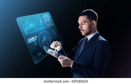 business, people and modern technology concept - businessman in suit working with transparent tablet pc computer and virtual screen projection over black background