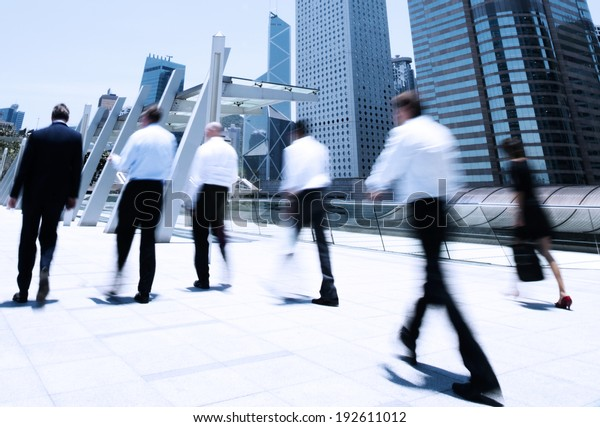 Business people in motion.