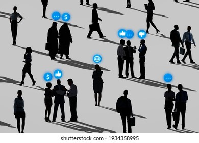 Business people networking in silhouette social media remix