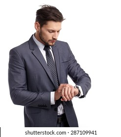 business, people and office concept - businessman in suit