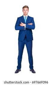 business, people and office concept - happy smiling businessman in blue suit