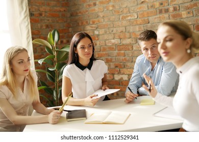 Business. People in the office during conference