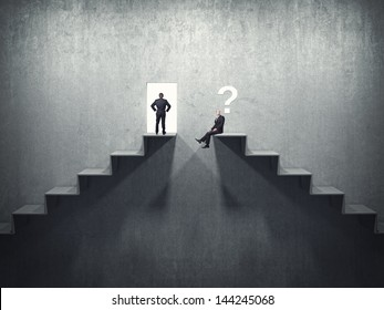 business people on 3d abstract stair