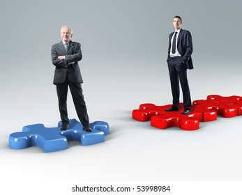 business people on 3d  jigsaw puzzle
