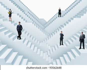 business people on 3d stair