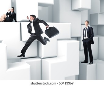 business people on 3d virtual white puzzle game