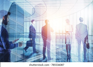Business people on abstract city background. Meeting and group conference concept. Double exposure