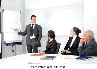 Business people on a meeting with businessman exposing a project
