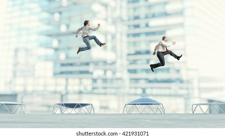 business people on trampoline 3d image