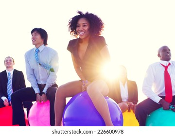 Business People Outdoors Cheerful Exercise Concept