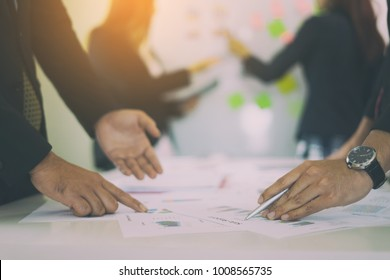 Business People Planning Strategy Analysis Office Concept, Project managers meeting, Business crew working with new startup,Teamwork ,man and woman discussion document in the office