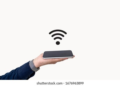 Business people put mobile phones on their palms and have a Wi-Fi logo on a white background