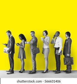 Business people queueing wall copy space