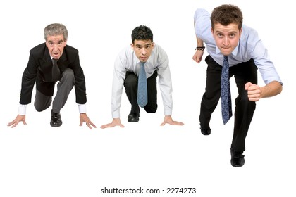 business people ready for competition over a white background