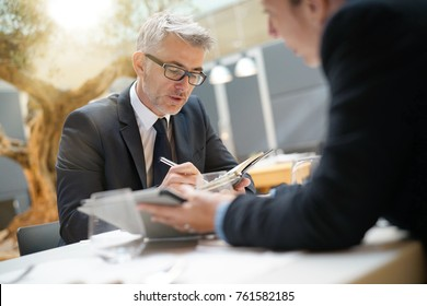 Business people in restaurant having a lunch meeting