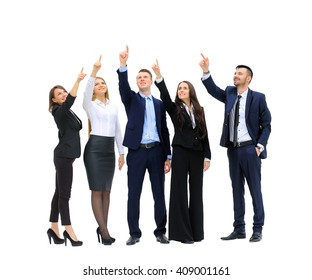 business people in a row pointing and looking up to copy space isolated on white background