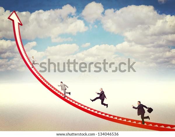 business people run on 3d arrow stair