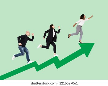 Business people rushing towards success
