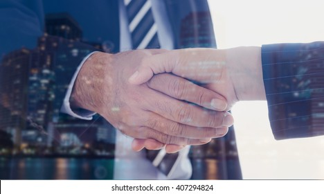Business people shaking hand. Agreement, Partnership, Greeting, Dealing, Merger and Acquisition Business Concepts.