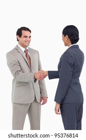 Business people shaking hands against a white background